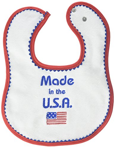 Raindrops Embroidered Bib, Made in USA, Red ()