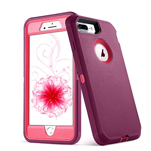 iPhone 8 Plus Case,iPhone 7 Plus Case,5.5 Inch Screen [VCOSI] Heavy Duty Defense Shield for iPhone 8 Plus & iPhone 7 Plus (ONLY) Shock-Resistant Dustproof Case (Mauve/WineRed)