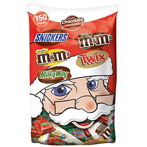 SNICKERS, M&M'S, TWIX & MILKY WAY Christmas Candy Minis & Fun Size Variety Mix 55.2-Ounce Bag 150 Pieces ()