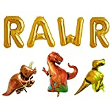 Rose&Wood 16'' Gold RAWR Foil Balloons Dinosaur Balloon Birthday Party