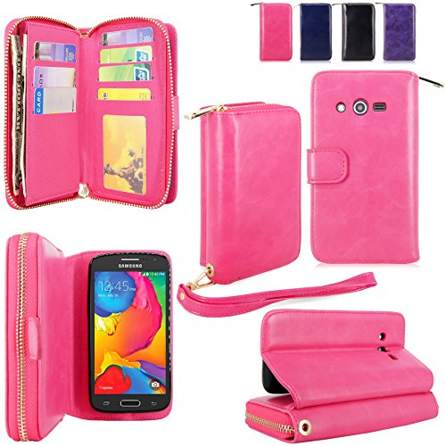 For Samsung Galaxy Avant Case - Cellularvilla PU Leather Flip Wallet Bag Pouch Case with Credit Card Slots Pockets Cover For Samsung Galaxy Avant G386 (T-Mobile) (Hot Pink1)