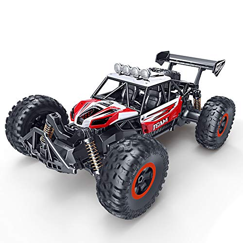 (RC Car, SPESXFUN Newest 2.4 GHz High Speed Remote Control Car 1/16 Scale Off Road RC Trucks with Two Rechargeable Batteries, Racing Toy Car for All Adults and Kids(Red))