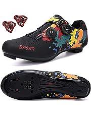 CENGYOO Zapatos de bicicleta de carretera para hombre (tacos incluidos) para mujer, zapatos de ejercicio para interior y mujer, compatibles con SPD/SPD-SL Look Cleats para mujer con pedal de bloqueo