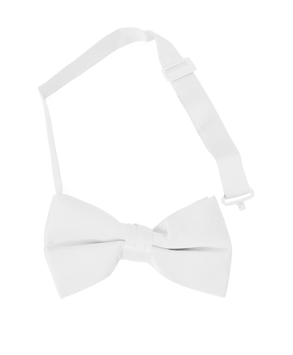 hot Formal Solid Banded Pre-Tied Boys Bow Ties-White save more