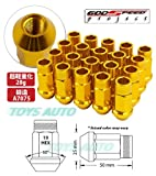 Godspeed 20 Pieces 12x 1.5mm Gold Color Extended Aluminum Lug Nut Lugs 12x1.5mm Wheel Nut Nuts Fit ALL Honda , Accord , Accord Wagon , Civic , Civic Si , Civic Type-r , Ep3 Civic , CRX , CRV , CRZ Cr-z , DEL SOL , FIT , Prelude , S2000 S2k