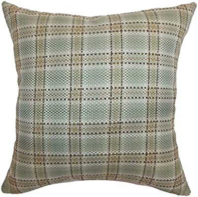 The Pillow Collection Wacian Plaid Pillow Aqua Brown