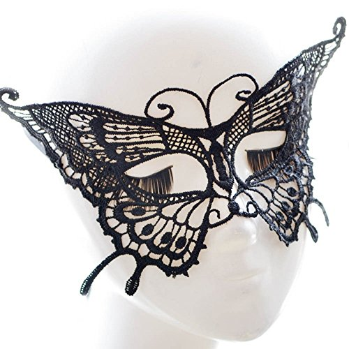 Qinlee Mask Ladies Butterfly Shape Lace Eye Mask Venice Mask Lace Cosplay Venetian Halloween Costume Party Masquerade Mask Black for Venetian Carnival Costume Party, White (Butterfly)