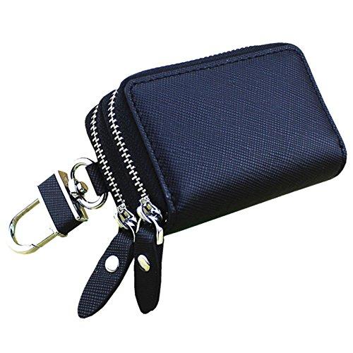 (RAYSUN Premium Genuine Leather Car Key Chain Holder Case [ 2 Pockets for Car Key Home Key Coin Cash ] (Black 2 Pocket))