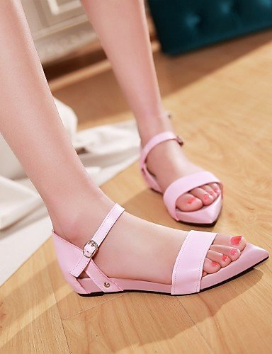 ShangYi Womens Shoes Faux Fur Flat Heel Pointed Toe Sandals Office & Career/Dress Black/Pink/White Black