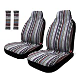 Copap 4pc Universal Stripe Colorful Baja Front Seat Cover Baja Bucket Seat Cover Blue Saddle Blanket with Seat-Belt Pad Protectors for Car - SUV & Truck