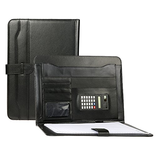 Legal Padfolio | A4 Size Resume Portfolio Holder with Calculator | Ultimate Organizer for Business Card Holder | Store iPad Magazine Pen Leather PU Material | Black | 1587