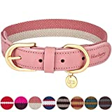 Blueberry Pet 8 Colors Polyester Fabric and Soft Genuine Leather Webbing Dog Collar in Pink and Grey, Large, Neck 18''-22'', Adjustable Collars for Dogs