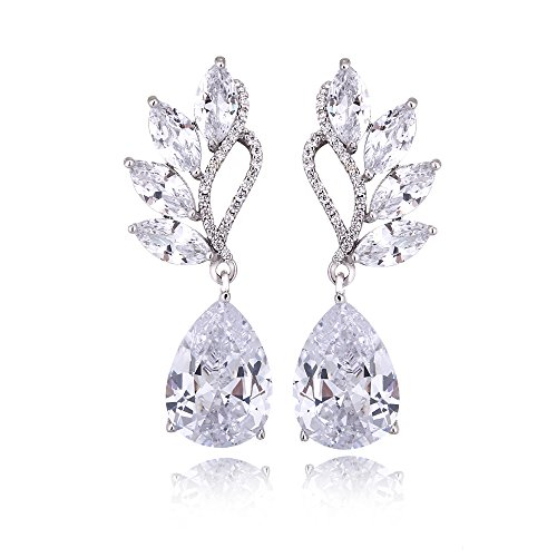 Rhinestone Cluster Earring - Women's Cubic Zirconia Bridal Earrings - Sterling Silver Teardrop Floral Leaf CZ Cluster Earring Crystal Rhinestone Wedding Earrings for Bride Bridesmaids Mother of Bride Pageant Party Prom by AMYJANE