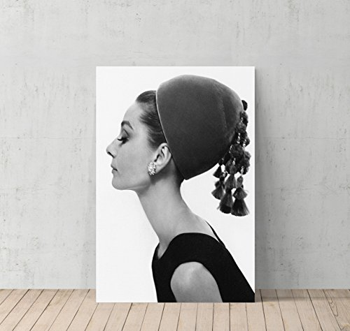 Audrey Hepburn Side Profile with Modern Hat Canvas Print Decorative Art Modern Wall Décor Artwork Wrapped Wood Stretcher Bars - Ready to Hang - %100 Handmade in the USA - AHV40