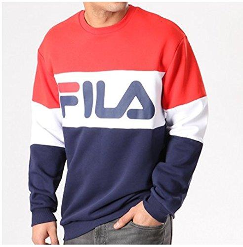 Fila Felpa 681255 Bandiera Blu Bianco Rosso Girocollo Logo ...