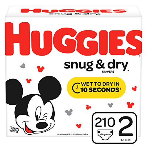 HUGGIES Snug & Dry Baby Diapers, Size 2 (fits 12-18 lbs.), 210 Count, Mega Colossal Pack (Packaging May Vary)