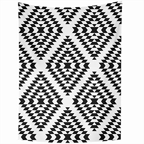 Ahawoso Tapestry 60 x 90 Inches White Geo Black Aztec Geometric Ethnic Abstract Diamond Pattern Zag Zig Vintage Navajo American Wall Hanging Home Decor Tapestries for Living Room Bedroom Dorm
