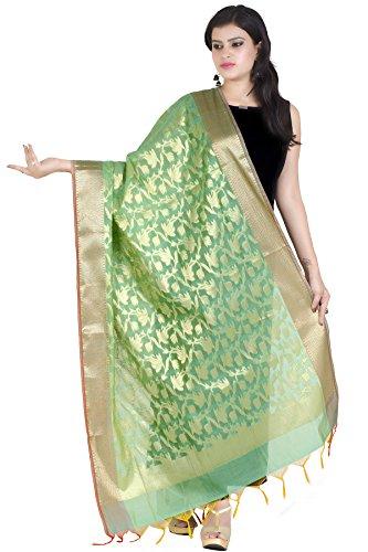 Chandrakala Women's Handwoven Green Zari Work Banarasi Dupatta Stole Scarf,Free Size (D111GRE)