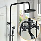 MOMO Dusche Set Schwarz Voll Kupfer Badezimmer Set Dusche Set Continental Badezimmer Set Heiß / Kalt Wasserhahn Druck Düse Lift Dusche