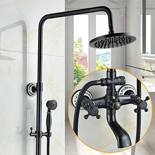 MOMO Dusche Set Schwarz Voll Kupfer Badezimmer Set Dusche Set Continental Badezimmer Set Heiß / Kalt Wasserhahn Druck Düse Lift Dusche by MOMO (Image #6)