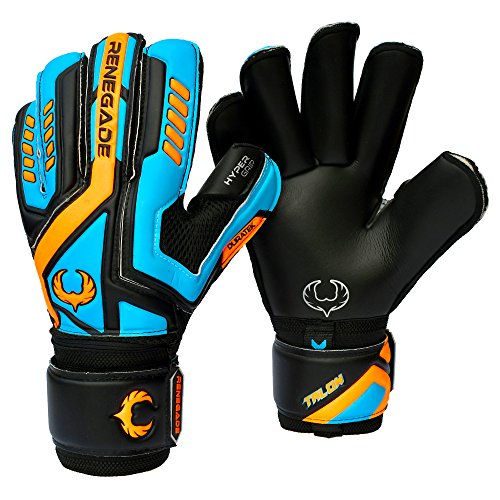 Talon Cyclone 2 Roll Cut With GK Grip (Size 7 - Medium, Black) Soccer Youth Goalkeeper Gloves With Pro Finger Saves - Latest Football or Futsal Goalie Gear - Adult, Teens, Junior, & Kids