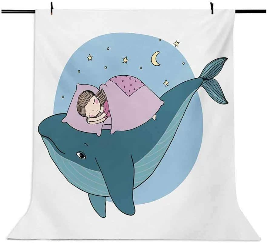 Whale 10x12 FT Photo Backdrops,Hand Drawn Style Little Girl is Sleeping on a Whale Cozy Bed in The Night Sea Background for Child Baby Shower Photo Vinyl Studio Prop Photobooth Photoshoot