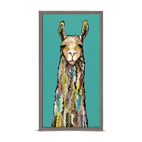 GreenBox Art + Culture Llama by Eli Halpin 5 x 10 Mini Framed Canvas, Rustic - Elle Natural