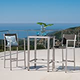Crested Bay 3 Piece Grey Outdoor Wicker and Aluminum Bar Set (Small Image)