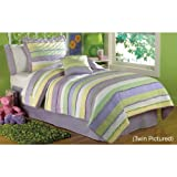 PEM America Annas Ruffle Quilt Set in Purple and Yellow - Full