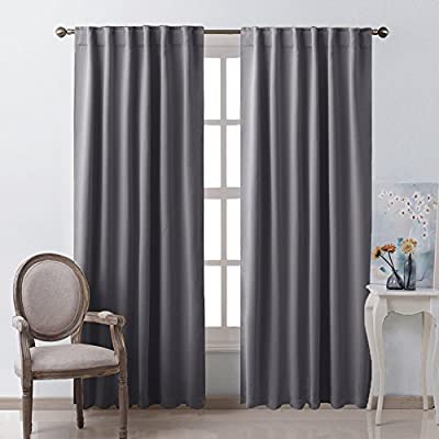 """NICETOWN Blackout Curtain Panels Window Draperies - (Grey Color) 52x84 Inch, 2 Pieces, Insulating Room Darkening Blackout Drapes for Bedroom - ✅ READY MADE: Set includes 2 blackout curtain panels, each panel measuring 52"""" wide x 84"""" length with 7 back loops. Quality fabric without liner feels soft and heavy. Thread trimmed and wrinkle free, both sides are the same color. ✅ SERVE WELL: Impedes 85%-99% of light and UV ray (Dark color curtains work better). Due to the innovative triple weave technolog, Perfect drapery option for anyone seeking to block daylight, take a nap, or keep sun glare off your TV. ✅ ENERGY SMART: Triple weave blackout fabric balances room temperature by insulating against summer heat and winter chill. Protect your furniture, floors and artwork from the ravages of the sun, the drapes will pay for themselves off over time. - living-room-soft-furnishings, living-room, draperies-curtains-shades - 51CpadTXXoL. SS400  -"""