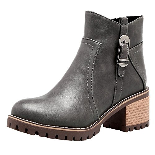 Mee Shoes Women's Chic Zip Mid Heel Block Heel Short Boots Grey