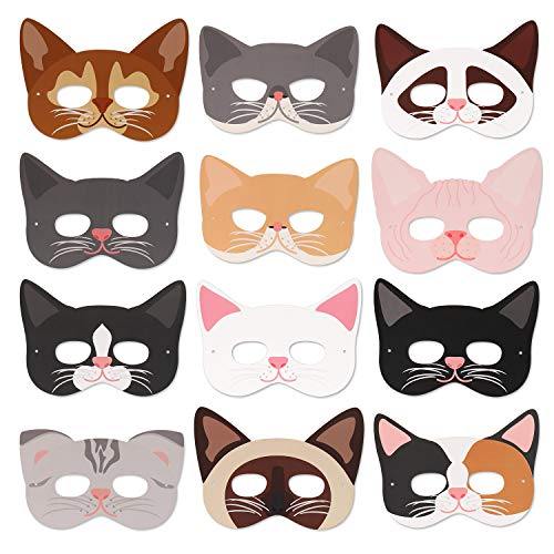 Cat Masks Kitten Masks Halloween Masks for Cat Party Kitty Party Kids Costumes Photo Prop Dress Up(12 Pcs)]()