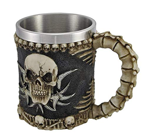 Mug Stainless Liner - 3D Ossuary Skeleton Skull Mug Tankard - Insulating Stainless Steel Liner Beer Coffee and Tea Cup Gift (G16635) ~ We Pay Your Sales Tax
