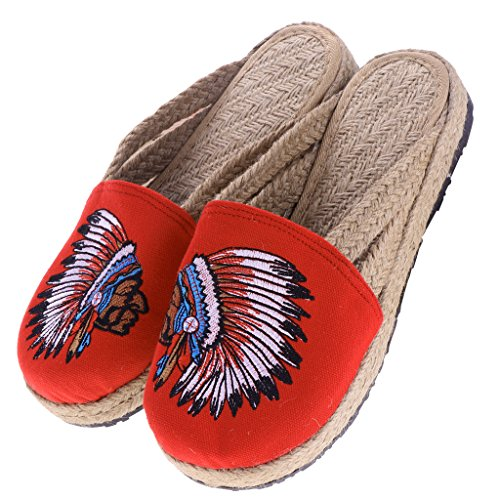 Embroidery Heel Slippers Toe Summer Mules Baoblaze 39 Shoes Round Womens Fashion Flat Red qcZOScTtwB