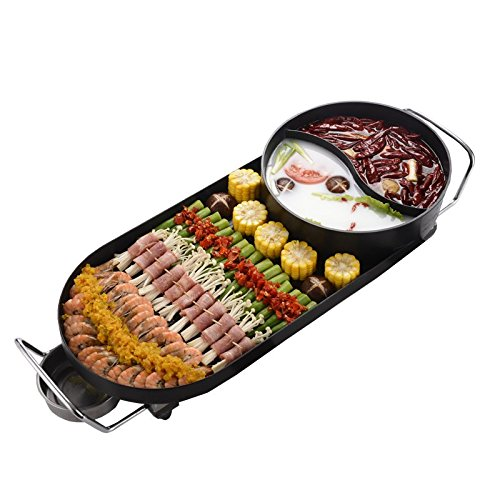 Elitek Smokeless Korean Hot-pot Design Multi-function Electric Oven BBQ Non-stick Electric Grill Pans, 110v