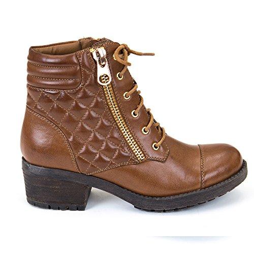 Gc Shoes Womens Ventura Decorative Zipper Stacked Heeled Tan Combat Ankle Bootie Cognac Lo2DX