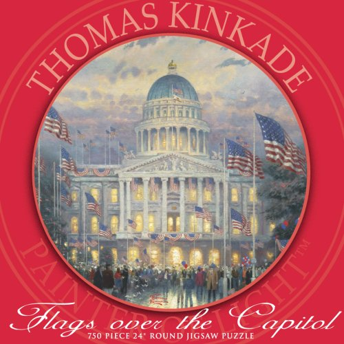 750 Piece Thomas Kinkade Round-Flags Over the Capitol Ceaco 2943-17