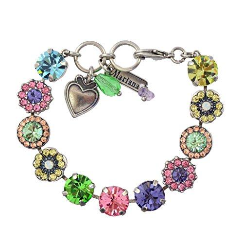(Mariana Flower Power Silver Plated Flower Crystal Tennis Bracelet, 8