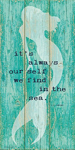 Inspirational Mermaid Art Poster Print on Vintage Teal Rustic Background E. E. Cummings Quote