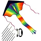 Rainbow Kite for Kids and Adults, Easy Flyer for Outdoor Games