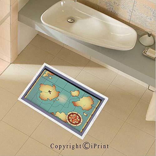 - Floor Sticker PVC Decorative Ancient Treasure World Map Design with Compass Navigation Adventure Hidden Land Wall Decal Wall Sticker Decor Party Supplies Home Decoration,35.4