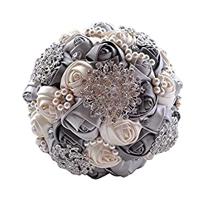 Wedding Bouquets for Bride, Amoleya 7.8 Inch Handmade Bridal Bouquet Bridesmaid Bouquet of Satin Flower Roses with Bling Rhinestones(Ivory+Grey) 70