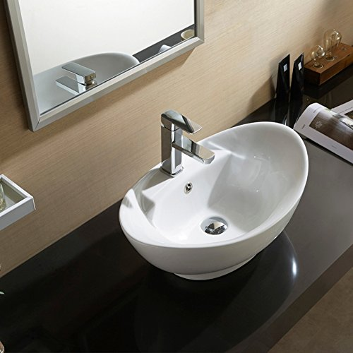 Waagee Oval Bathroom Vessel Sink Vanity Basin Pop Up Drain