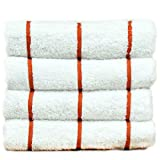 BC BARE COTTON Luxury Hotel & Spa Towel Turkish Cotton Pool Beach Towels - Brick Red - Striped - Set of 4