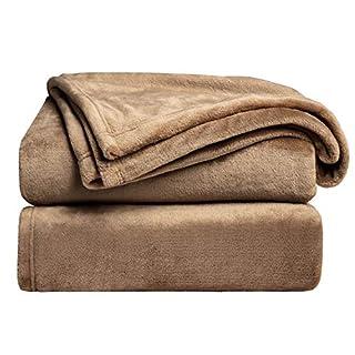 Bedsure Fleece Blanket Throw Size Taupe Lightweight Super Soft Cozy Beige Bed Blanket