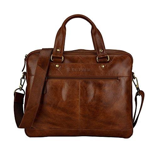 14''Leather Laptop Computer Messenger Shoulder Strap Office College Bag Brown by FINELAER