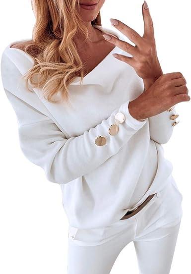 Tashioning Blusa De Mujer Color Sólido Casual Manga Larga Botón Superior Camisa Sexy Hombros Descubiertos Cuello Barco Elegante Tops: Amazon.es: Ropa y accesorios