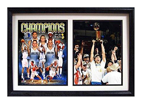 Encore Select 122-07 NBA Dallas Mavericks Double Frame 2011 NBA Champion Dirk Nowitzki Print, 12-Inch by 18-Inch - Black Dallas Mavericks Frame