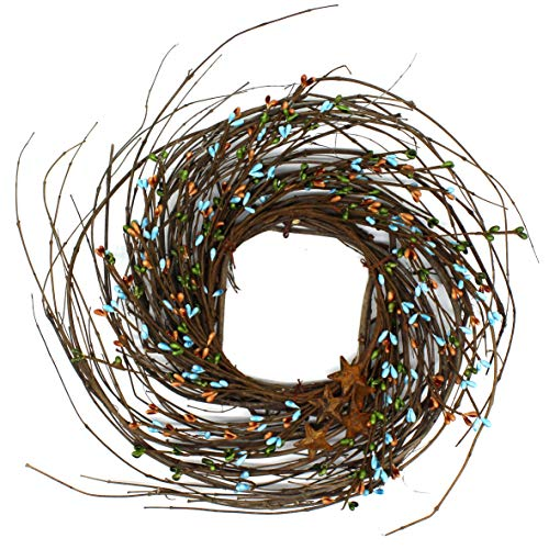 CVHOMEDECO. Primitives Rustic Pip Berries and Twig with Rusty Barn Stars Wreath, 12-Inch, Country Mix ()