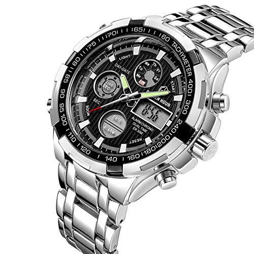 GOLDEN HOUR Luxury Stainless Steel Analog Digital Watches for Men Male Outdoor Sport Waterproof Big Heavy Wristwatch 2